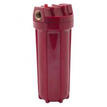 Фильтр магистральный для горячей воды (непрозрачный красный корпус 10) 1/2 без картриджа в Оренбурге по самым привлекательным ценам